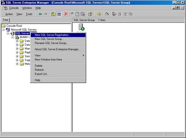 Окно SQL Server Enterprise Manager