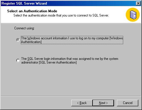 Окно Register SQL Server Wizard