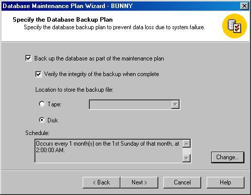 Окно Database Maintenance Plan Wizard