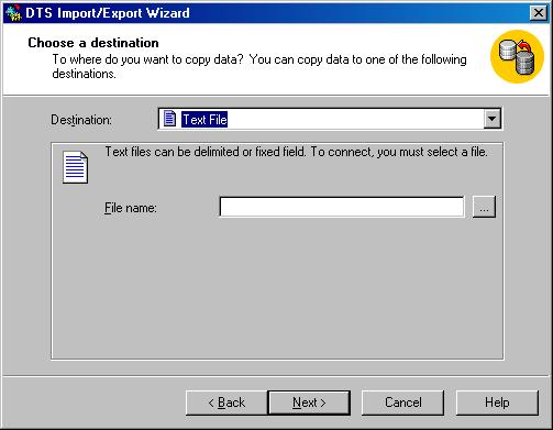 Окно DTS Import/Export Wizard