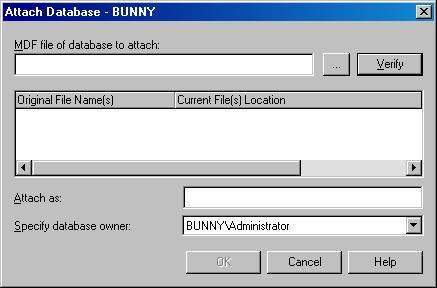 Окно Attach Database