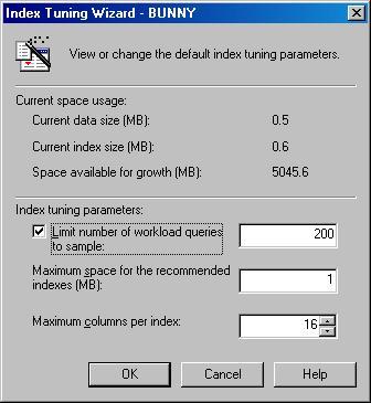 Окно Index Tuning Wizard
