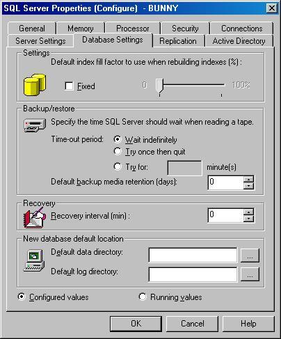Окно SQL Server Properties