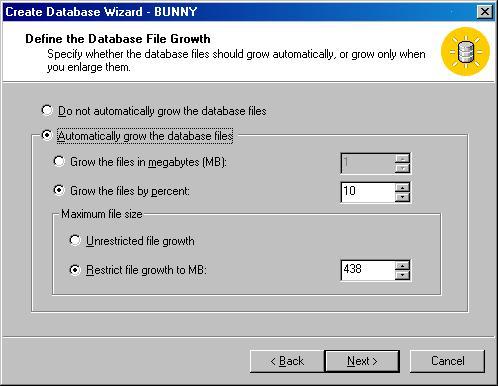 Окно Create Database Wizard