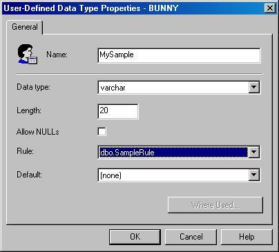 Окно User-Defined Data Type Properties