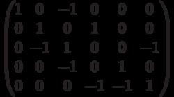 $$\begin{pmatrix}1 & 0 & -1 & 0 & 0 & 0\\0 & 1 & 0 & 1 & 0 & 0\\0 & -1 & 1 & 0 & 0 & -1\\0 & 0 & -1 & 0 & 1 & 0\\0 & 0 & 0 & -1 & -1 & 1\end{pmatrix}$$