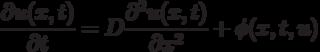 \frac {\partial u (x,t)}{\partial t} = D \frac {\partial^2 u(x,t)}{\partial x^2} + \phi (x,t,u)