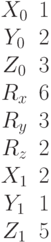 \begin{matrix}X_0 &1\\Y_0&2\\Z_0 &3\\R_x &6\\R_y &3\\R_z & 2\\X_1 &2\\Y_1 &1\\Z_1 &5\end{matrix}