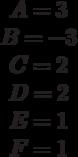 \begin{matrix}A= 3\\B= -3\\C= 2\\D= 2\\E= 1\\F=1 \end{matrix}