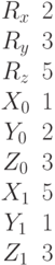 \begin{matrix}R_x&2\\R_y&3\\R_z&5\\X_0&1\\Y_0&2\\Z_0&3\\X_1&5\\Y_1&1\\Z_1&3\end{matrix}