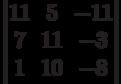 \begin{vmatrix}          11 & 5 & -11 \\          7 & 11 & -3 \\          1 & 10 & -8           \end{vmatrix}