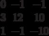 $$\begin{matrix}0&-1&-1\\3&12&10\\1&-1&-10\end{matrix}$$