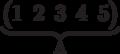 \underbrace{\begin{pmatrix} 1 & 2 & 3 & 4 & 5 \\  \end{pmatrix}}_\text{A}