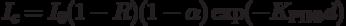 I_c=I_0(1-R)(1-\alpha) \exp(-K_{РПФ}d)