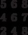 \begin{matrix}5&6&8\\4&6&7\\2&4&8\end{matrix}