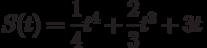 $S(t) =\dfrac{1}{4}t^4+\dfrac{2}{3}t^3+3t $