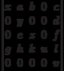 \begin{vmatrix}          x & a & b & 0 & c \\          0 & y & 0 & 0 & d \\          0 & e & z & 0 & f \\          g & h & k & u & l \\          0 & 0 & 0 & 0 & v          \end{vmatrix}