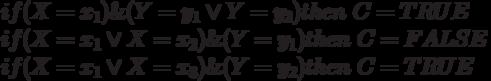 if(X=x_1)\&(Y=y_1\vee Y=y_2)then\ C=TRUE\\if(X=x_1\vee X=x_2)\&(Y=y_1)then\ C=FALSE\\if(X=x_1\vee X=x_3)\&(Y=y_2)then\ C=TRUE