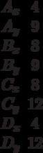 \begin{matrix}A_x&4\\A_y&9\\B_x&8\\B_y&9\\C_x&8\\C_y&12\\D_x&4\\D_y&12\end{matrix}