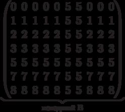 \underbrace{\begin{pmatrix} 0 & 0 & 0 & 0 & 0 & 5 & 5 & 0 & 0 & 0 \\ 1 & 1 & 1 & 1 & 1 & 5 & 5 & 1 & 1 & 1 \\  2 & 2 & 2 & 2 & 2 & 5 & 5 & 2 & 2 & 2 \\  3 & 3 & 3 & 3 & 3 & 5 & 5 & 3 & 3 & 3 \\   5 & 5 & 5 & 5 & 5 & 5 & 5 & 5 & 5 & 5 \\   7 & 7 & 7 & 7 & 7 & 5 & 5 & 7 & 7 & 7 \\  8 & 8 & 8 & 8 & 8 & 5 & 5 & 8 & 8 & 8 \\  \end{pmatrix}}_\text{исходный B}