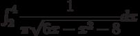 \int_{2}^{4} \dfrac{1}{\pi\sqrt{6x-x^2-8}} dx