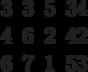 \begin{matrix}3 &3 &5 &34\\4 &6 &2 &42\\6 &7 &1 &53\end{matrix}