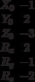\begin{matrix}X_0 &-1\\Y_0 &2\\Z_0 &-3\\R_x &2\\R_y &-1\\R_z &-2\end{matrix}