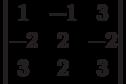 \begin{vmatrix}        1 & -1 & 3 \\        -2 & 2 & -2 \\        3 & 2 & 3        \end{vmatrix}