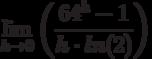 \lim_{h \to 0} \left( \frac{64^h-1}{h \cdot ln(2)}\right)