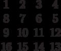 \begin{matrix}1&2&3&4\\8&7&6&5\\9&10&11&12\\16&15&14&13\end{matrix}