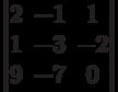 \begin{vmatrix}          2 & -1 & 1 \\          1 & -3 & -2 \\          9 & -7 & 0           \end{vmatrix}