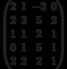 $$\begin{pmatrix}2&1&-3&0\\2&3&5&2\\1&1&2&1\\0&1&5&1\\2&2&2&1\end{pmatrix}$$