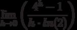 \lim_{h \to 0} \left( \frac{4^h-1}{h \cdot ln(2)}\right)