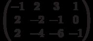 $$\begin{pmatrix}-1&2&3&1\\2&-2&-1&0\\2&-4&-6&-1\end{pmatrix}$$