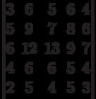 \begin{vmatrix}3 & 6 & 5 & 6 & 4\\5 & 9 & 7 & 8 & 6\\6 & 12 & 13 & 9 & 7\\4 & 6 & 6 & 5 & 4\\2 & 5 & 4 & 5 & 3\\\end{vmatrix}