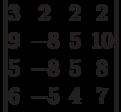 \begin{vmatrix}3 & 2 & 2 & 2\\9 & -8 & 5 & 10\\5 & -8 & 5 & 8\\6 & -5 & 4 & 7\\\end{vmatrix}