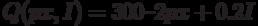Q (px, I) = 300 – 2 px + 0.2 I