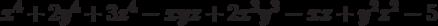 x^4 + 2y^4 + 3z^4 - xyz + 2x^3y^3 - xz + y^2z^2 - 5