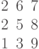 \begin{matrix}2&6&7\\2&5&8\\1&3&9\end{matrix}