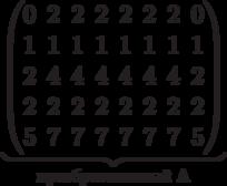 \underbrace{\begin{pmatrix} 0 & 2 & 2 & 2 & 2 & 2 & 2 & 0 \\ 1 & 1 & 1 & 1 & 1 & 1 & 1 & 1 \\ 2 & 4 & 4 & 4 & 4 & 4 & 4 & 2 \\  2 & 2 & 2 & 2 & 2 & 2 & 2 & 2 \\  5 & 7 & 7 & 7 & 7 & 7 & 7 & 5 \\   \end{pmatrix}}_\text{преобразованный A}