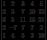 \begin{vmatrix}1 & 2 & 3 & 4 & 5\\2 & 3 & 7 & 10 & 13\\3 & 5 & 11 & 16 & 21\\2 & -7 & 7 & 7 & 2\\1 & 4 & 5 & 3 & 10\\\end{vmatrix}