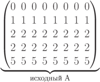 \underbrace{\begin{pmatrix} 0 & 0 & 0 & 0 & 0 & 0 & 0 & 0 \\ 1 & 1 & 1 & 1 & 1 & 1 & 1 & 1 \\ 2 & 2 & 2 & 2 & 2 & 2 & 2 & 2 \\  2 & 2 & 2 & 2 & 2 & 2 & 2 & 2 \\  5 & 5 & 5 & 5 & 5 & 5 & 5 & 5 \\   \end{pmatrix}}_\text{исходный A}