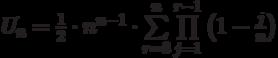 U_n=\frac{1}{2}\cdot n^{n-1}\cdot\sum\limits_{r=3}^{n}\prod\limits_{j=1}^{r-1}\left(1-\frac{j}{n}\right)