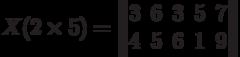 X(2\times 5) =\begin{Vmatrix}3&6&3&5&7\\4&5&6&1&9\end{Vmatrix}