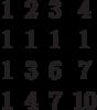 $$\begin{matrix}1&2&3&4\\1&1&1&1\\1&3&6&7\\1&4&7&10\end{matrix}$$