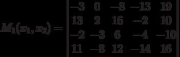 M_1(x_1,x_2) = \begin{vmatrix} -3&0&-8&-13&19\\13&2&16&-2&10\\-2&-3&6&-4&-10\\11&-8&12&-14&16\end{vmatrix}