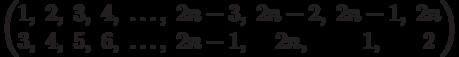 \begin{pmatrix}1, & 2, & 3, & 4, & \ldots, & 2n - 3, & 2n - 2, & 2n - 1, & 2n\\3, & 4, & 5, & 6, & \ldots, & 2n - 1, & 2n, & 1, & 2\\\end{pmatrix}