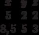 \begin{matrix}x&y&z\\5&2&2\\8,5&5&3\end{matrix}