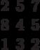 \begin{matrix}2&5&7\\8&4&5\\1&3&2\end{matrix}