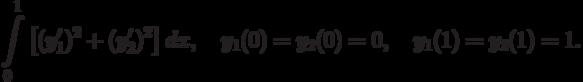 \int\limits_0^1\left[(y_1')^2+(y_2')^2\right]dx, \quad y_1(0)=y_2(0)=0, \quad y_1(1)=y_2(1)=1.
